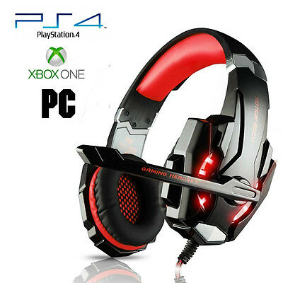 Pro Gamer PS4 Headset Red Headphones for PlayStation 4 Xbox One & PC Computer
