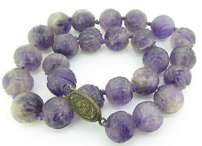 . 19th C. Chinese Antique Carved Shou 15mm Amethyst Court Beads