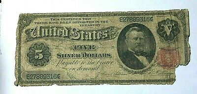 """Rare 1891 Large $5 Dollar Silver Certificate """"Grant"""" Note Fr 267"""