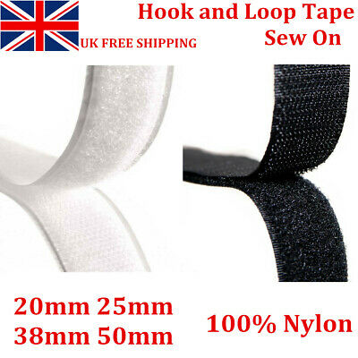 1m//2m//3m//4m//5m//10m Sew-On Hook /& Loop Tape 20mm wide White one side or both