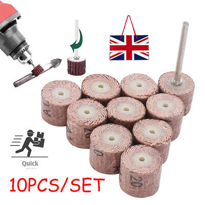 120 Grit Flap Wheel Sanding Sandpaper Drill Polish Disc For Rotary Tool x 10