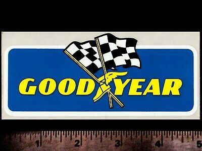 GOODYEAR Flags - Original Vintage 1960's 70's Racing Decal/Sticker - 5 inch