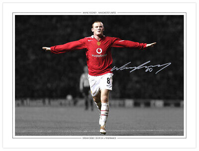 MU 036 - HAND SIGNED 16x12 PHOTO EDITION MAN UNITED 2004 WAYNE ROONEY