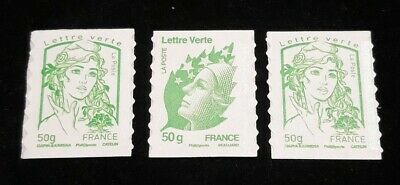 3 Timbres Autocollant 50 Grs Lettre verte Marianne CIAPPA KAWENA BEAUJARD [T122]
