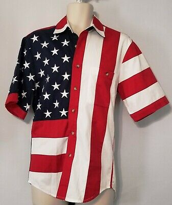 Scully Mens Western Shirt Long Sleeve Blue Stars Stripes Patriotic P-756