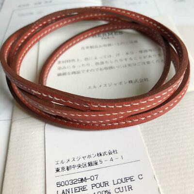 HERMES ACCESSORY Laniere Charm Brown Leather White Stich Strap 2006 Unisex