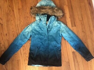 Roxy Ski Snowboard Jacket Coat Size XS Hombre Blue with Hood Insulated 10K