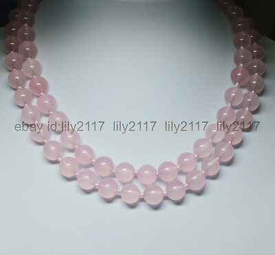 Genuine natural 8mm Pink Chalcedony Round Beads Gemstones Necklaces 36""