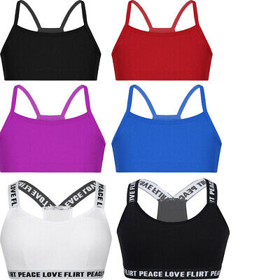 Kids Girls Crop Top Vest Ballet Dance Yoga Camisole Sports Gymnastics Bra Tank