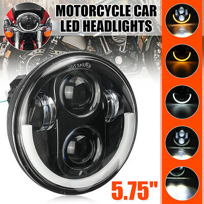 5.75 Inch Motorcycle LED Headlight Projector Hi-Lo Beam Lamp For Harley  #