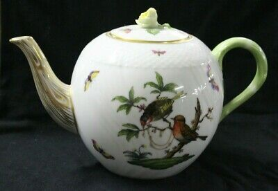 Herend Hungary Hand Painted Rothschild Bird 1602/Ro Rose Finial Large Teapot