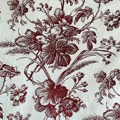 1860 antique French monochromatic toile fabric burgundy floral design cotton old