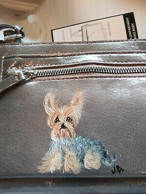 Hand Painted yorkshire terrier yorkie painting Cross body silver purse
