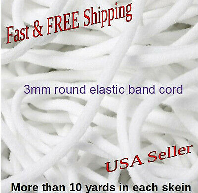(1x)More than 10yards in one skein 3mm round elastic band cord/white color