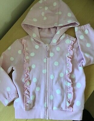 M&S PINK SPOTTED ZIPPED HOODY / JACKET age 2-3