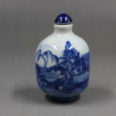 Chinese ancient antique hand make Blue and White Landscape Snuff Bottle 0