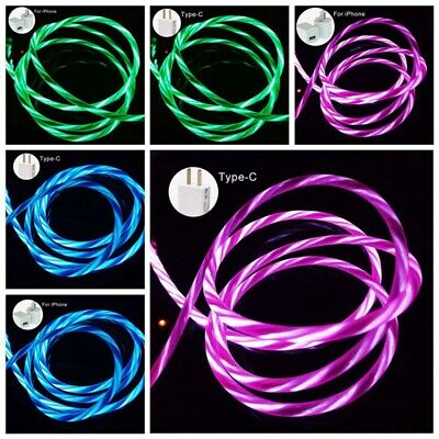 LED Flowing Light Up USB Charger Cable Data Sync Cord For iPhone Android useable
