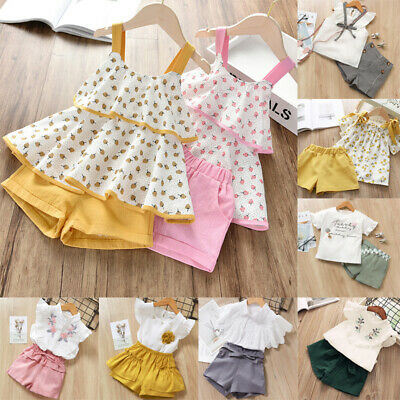 2020 Kids Girls Floral Outfit Clothes Summer Trouser Set Casual Tops + Shorts CN
