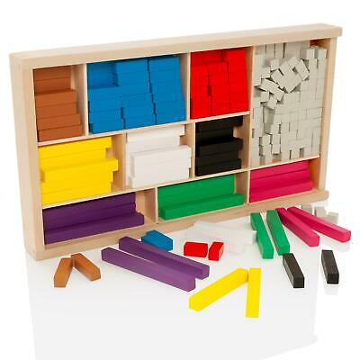 Wooden Educational Maths Blocks Set Introductory Wood Cuisenaire Rods