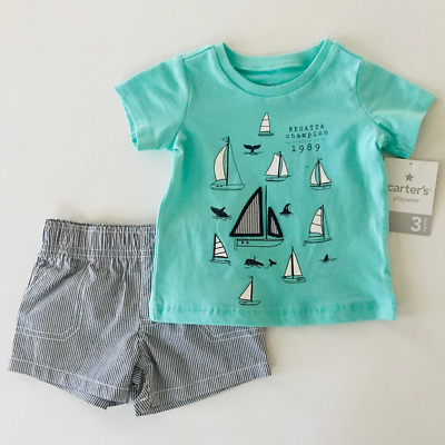 Carters 3 6 Months Nautical Tee & Shorts Set Baby Boy Clothes Summer Outfit