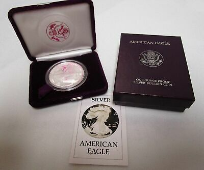 1986-S Proof Silver American Eagle Coin With Box & Coa