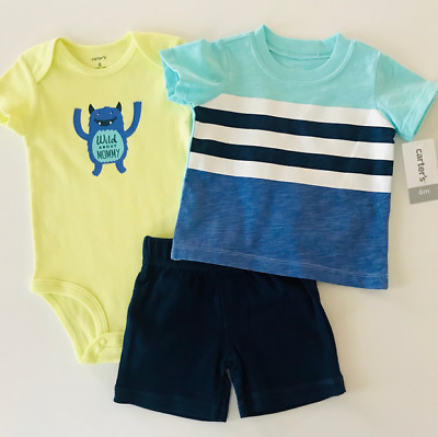Carters Baby Boy Summer Clothes 6 9 Months Bodysuit Shorts Tee Set Outfit