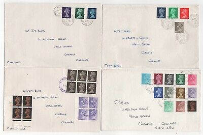 1967 - 1971 GB QEII 4 x First Day Covers DEFINITIVE Issues Decimal + Pre-decimal