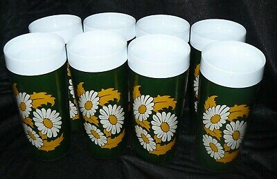 Set of 8 West Bend Thermo Serv Tumblers Glasses Dark Green White Yellow Daisies