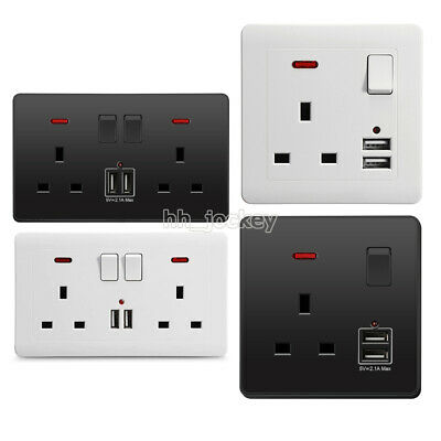Double Wall Plug Socket 2 Gang 13A w/ 2 Charger USB Ports Outlets Flat Plate UK