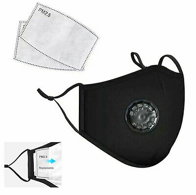Reusable Cotton Cotton Face Mask with Filters Built in Breathing Valve Washable