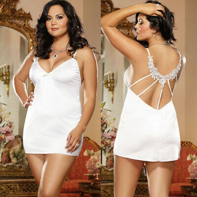 PLUS SIZE LINGERIE Queen White Microfiber Strappy Back Chemise Dress D9163X
