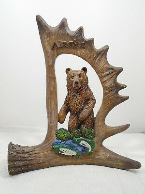 Alaska Bear & Fish in Antler Resin Frame Souvenir