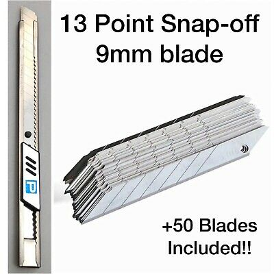 13-Point Snap-Off Knife 9mm Utility Box Cutter Razor +50 Personna Pro Smartedge