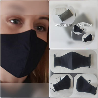 Face mask black filter PM2.5 filter pocket nose wire 3 layers 100% cotton madeUK