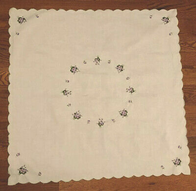 "32"" Square White Cotton Tablecloth, Purple Lavender Embroidered Flowers, Scallop"