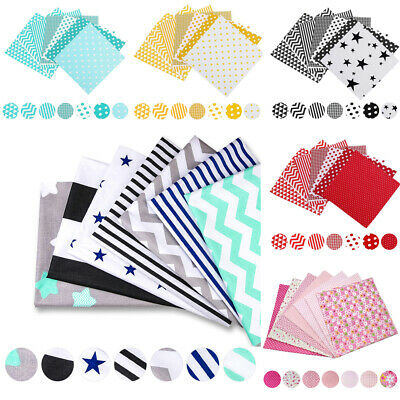 7PC Mixed Cotton Fabric Material Sewing Value Bundle Scraps Offcuts Quilting