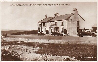 OLD POSTCARD RP Cat Fiddle Pub Buxton Derbyshire Vintage Car 1930S Cv179 -  £2.99 | PicClick UK