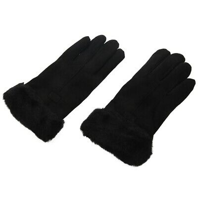 5X(Autumn and Winter Suede Gloves Women's Warm Press Screen Haired Gloves R K9M7