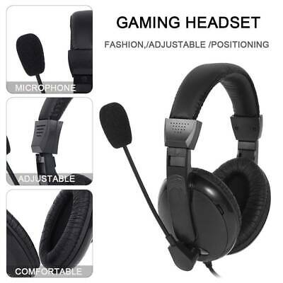 Stereo Gaming Headset Chat Mic Black 3.5mm Volume Control for PC PS4
