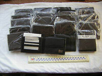 20 X Mens New Black Leather Wallets