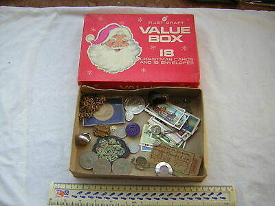 Christmas Card Box full of Collectables & Curios Charms, Cards, Coins & Badges