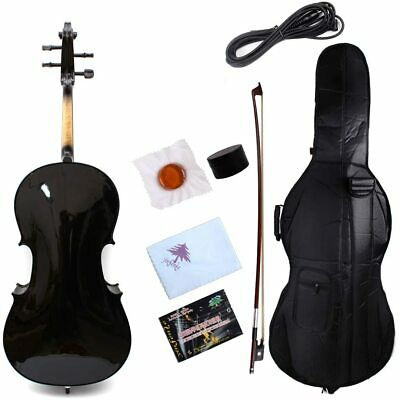 4/4 Electric Cello Acoustic Cello Solid Maple Spruce Ebony Fittings Black Color