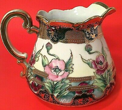 Nippon Pitcher Antique Moriage Hand Painted Thick Beaded Gold Roses Porcelain