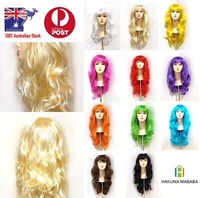 Womens Long Curly WIG With Bangs Fancy Hair Party Wigs Sleek Synthetic Cosplay