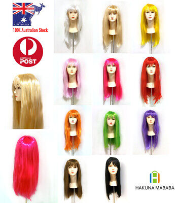 Womens Long Straight WIG With Bangs Hair Party Wigs Sleek Synthetic Cosplay