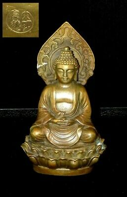 Magnificent Rare Chinese Bronze Buddha Figure Sculpture - Signed
