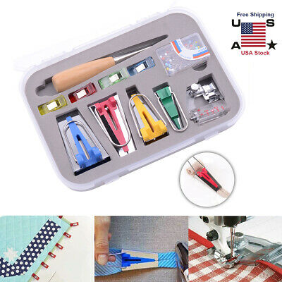 16 Pcs Set Bias Tape Maker Kit For Sewing /& Quilting Awl Foot Tools Binder E2I5