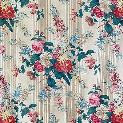 1850 printed cotton chintz French fabric floral stripe design glazed foliage old