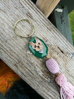 Hand Painted yorkshire terrier yorkie painting keyring purse charm tassel