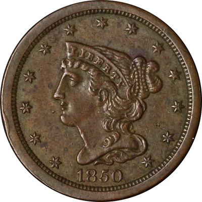 1850 Half Cent Choice XF/AU C-1 R.2 Superb Eye Appeal Strong Strike